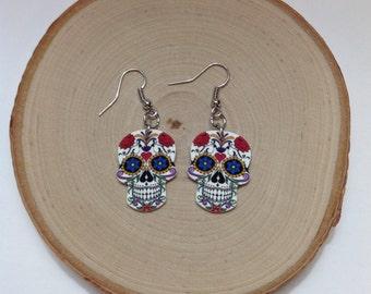 Sugar Skull Earrings- colorful skull Earrings, Skull Earrings, Sugar Skull Jewelry, Nickel Free Earrings, gifts for her, Day of the Dead