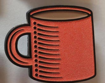 Coffee Cup (Orange Glow-in-the-Dark) - Enamel Pin