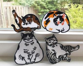 Cat patches-cats gift-cat-embordery-patch-fabric-cat fashion-cat art-calico cat-tabby cat-cat lover-shop small-horse fiddle press-clothing