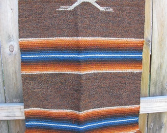 "Vintage Native American Rug - Wall Hanging - Textile - Striped Road Runner Bird  76"" X 26"""