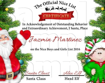 Santas nice list certificate personalized santas nice list certificate diy santa claus stocking stuffers santa letter spiritdancerdesigns