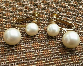 Vintage Signed MARVELLA Clip Earrings, Double Solitaire Cream Faux Pearl with Adjustable Screw in Gold Tone