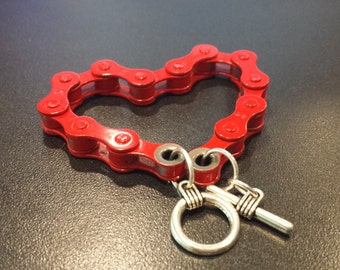 Red Handmade Bicycle Chain Bracelet , Cyclist MTB gift, Green Gift,  Cyclist Biker