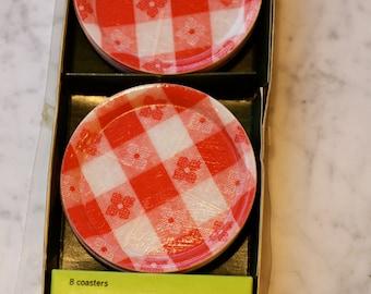 Vintage Red Gingham Mache Ware Coasters in original package