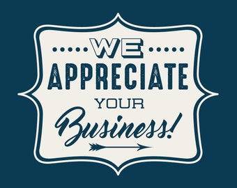 We Appreciate your business  instant download Greeting Card pantone color