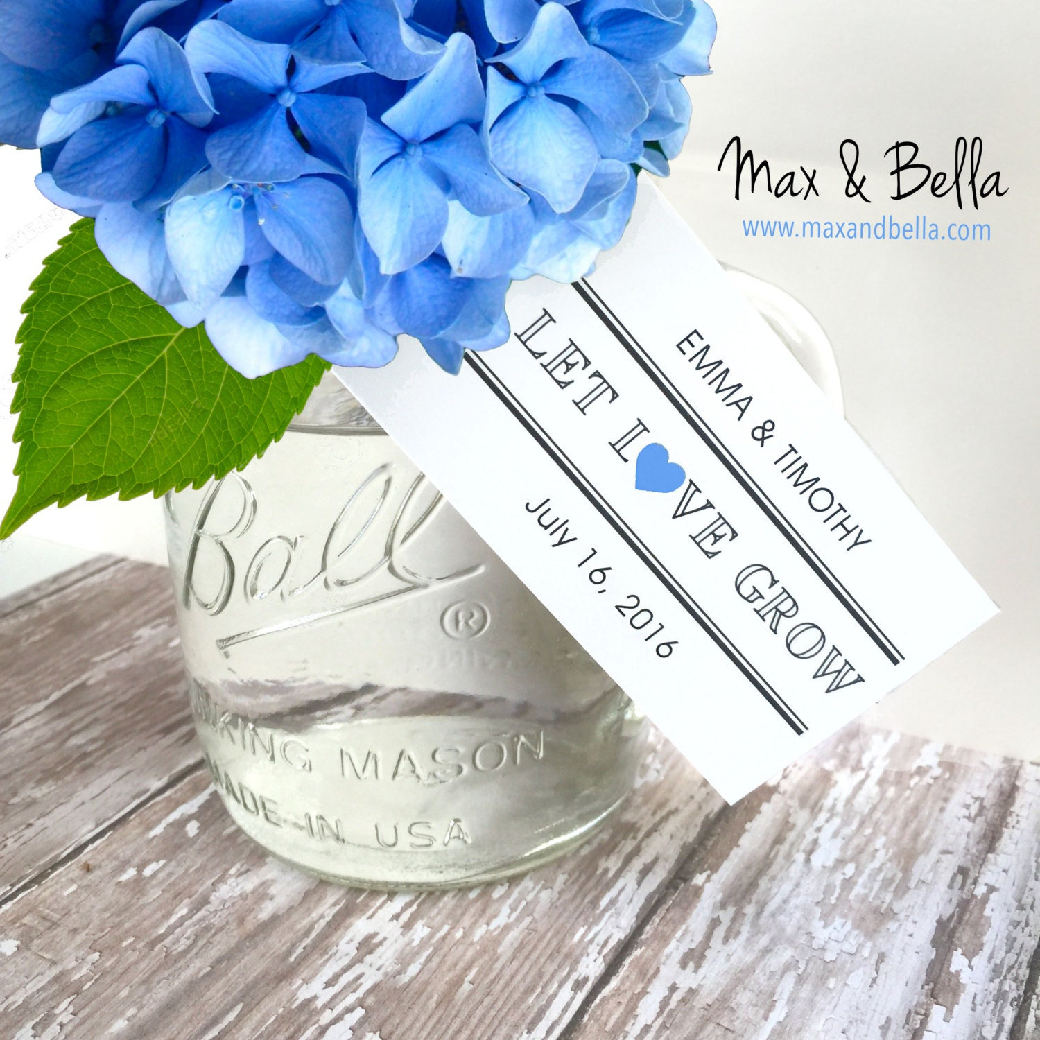 Personalized Wedding Tags, Let Love Grow Tags, Supplies, Gift Tags ...