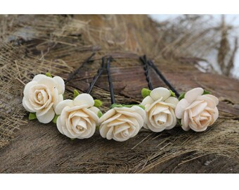 Peach White Roses Hairpin, Mulberry Paper Flower Hair Pins , Bridal Hair Pins, Hair Bobby Pins,Bridal Hair Accessories (F 2)