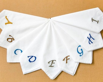 Mens Handkerchiefs Personalised with Initials embroidered