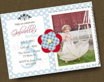 Blue/Red Girls Birthday Invitation with Photo (Printable )Digital File
