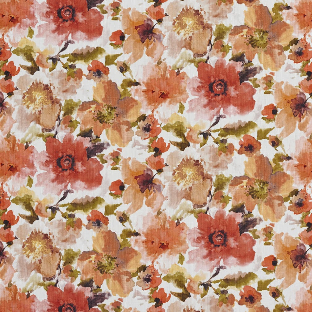 Orange And Green Large Floral Patterned Print Upholstery Fabric By
