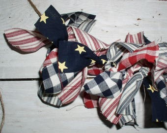 Americana Rag Garland Kit Pre-Cut Strips...Easy DIY Project for Patriotic Decor DIY Americana Homespun Fabric Garlands