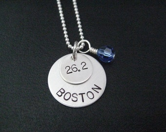 RUNNER RACE Necklace with Race Month Crystal on 18 inch Sterling Silver Chain - Celebrate Your Race - Choose Distance or Year - Race Medal