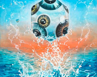 """Psychedelic/Surreal Eyeball Giclee Print, Oil Painting - """"The SEE of Consciousness"""" 9x13"""""""