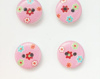 Pink Flower Button - Blue Floral Button - 15 mm Button - Half Inch Button - Floral Buttons - Pink Button - Small Button - Flat Back Button