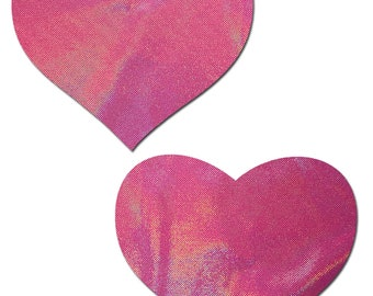 Pasties - Love: Holographic Bubblegum Pink Heart  Nipple Pasties by Pastease® o/s