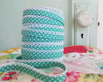 Seafoam Green Polka Dot Crochet Bias Tape (No. 7).  Double Fold Bias Tape.  Sewing Supplies