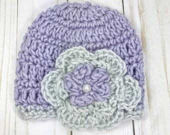 Crochet premie hat, baby girl hat, premie hat, purple hat, hat with flower