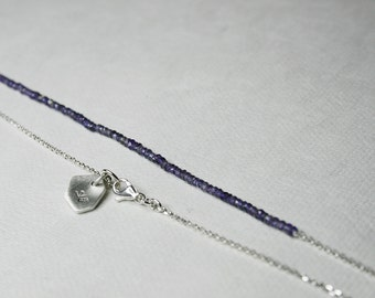 A violet line - delicate sterling silver and tiny iolite faceted beads necklace - READY to SHIP