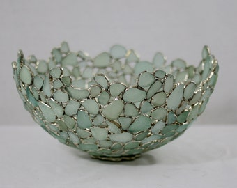 Large Sea Glass Bowl , Seafoam, Blue and White. English Beach Glass, Sea Glass Art , Stained glass
