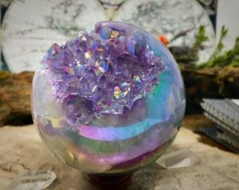 Luxurious Angel Aura Quartz Geode Sphere, Amethyst Aura Crystal Sphere, Crystal Geode Sphere,