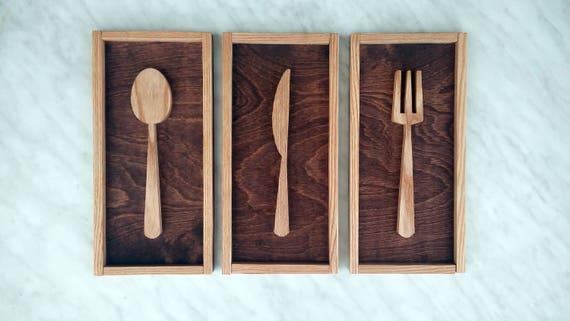 Houten keuken muur opknoping tekenen fork lepel mes houten for Letse keuken