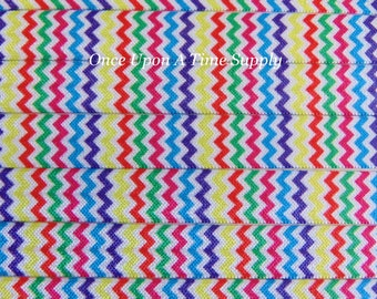 Colorful Rainbow Chevron Fold Over Elastic for Baby Headbands - Up to 5 Yards of 5/8 inch FOE - Printed Bright Print Sold by the Yard