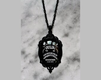 necklace black ouija board cameo gothic dark occult pagan esoteric spiritism wicca magic witch witchy witchcraft