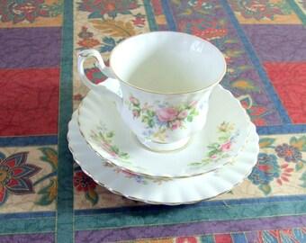Vintage Royal Albert Moss Rose Tea Trio Set Tea Cup Saucer Side Plate WORLD WIDE SHIPPING