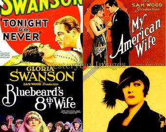 Vintage GLORIA SWANSON Movie Posters - Digital Images Collage Sheets - Instant Download - 3 PNG Files 4x4 - 2x2 - 1x1
