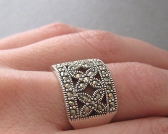 Openwork wide ring ring set with Marcasite Silver 925/1000