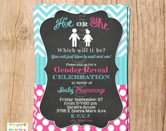CHALKBOARD gender reveal invitation - YOU PRINT