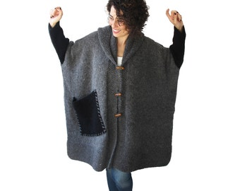 Plus Size Over Size Gray Mohair Overcoat - Poncho - Pelerine with Hood and Black Pocket