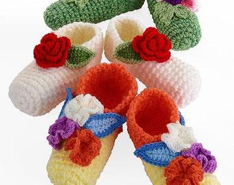 Crochet Posy Toes Slippers pattern pdf
