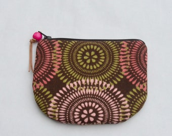 Graphic Circles Padded Round Zipper Pouch / Coin Purse / Gadget / Cosmetic Bag - READY TO SHIP