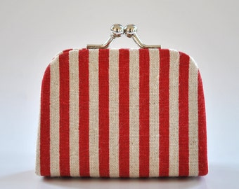 Korean Stripe in Red - Tiny Kiss lock Coin Purse/Jewelry holder