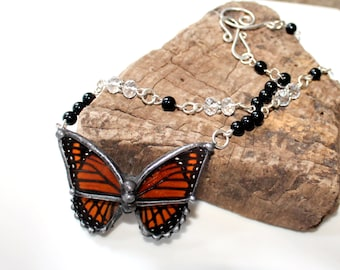 Real Butterfly Necklace, Viceroy Butterfly Crystal Necklace