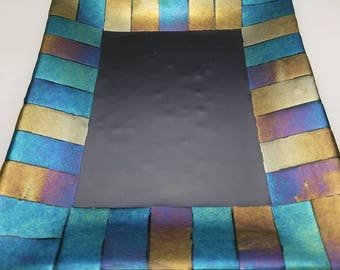 9x11 Serving Platter - Black and Iridescent