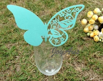 50x Dark Mint Butterfly Name Place Card | Wine Glass Flute Wedding & Party Reception Ceremony Banquet Function Table Centerpiece Decoration
