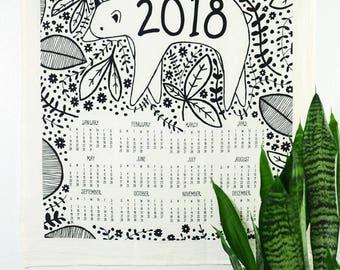 2018 Tea Towel Calendar, 2018 Calendar, Bear Tea Towel, Woodland Tea Towel, Home Essentials, Gift for Her, Animal Kitchen Decor