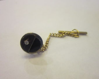 Vintage Sterling Silver? and Black Onyx Tie Tack
