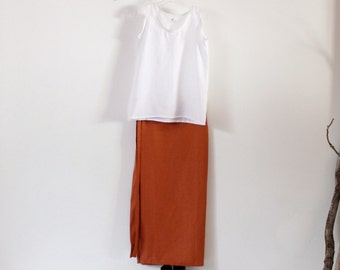 linen outfit white tank top rust wrap skirt handmade to measure petite to plus size / linen tank top / linen wrap skirt