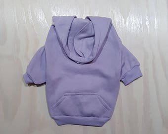 Lavender Zip Up Dog Hoodie - Dog Sweater - Dog Fashion
