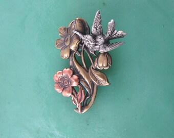 Hummingbird Brooch- Hummingbird Jewelry- Bird Jewelry- mixed metal jewelry