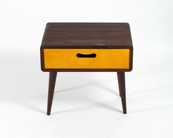 Mid Century Modern Side Table - Single Drawer