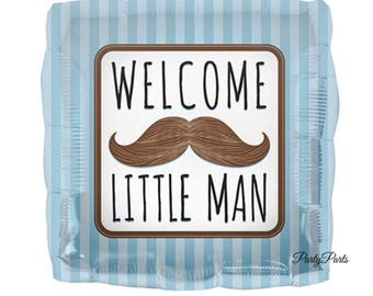 little man balloon, boys baby shower decorations, 18 inch, mustache party supplies, blue and brown, black, gender reveal ideas, foil