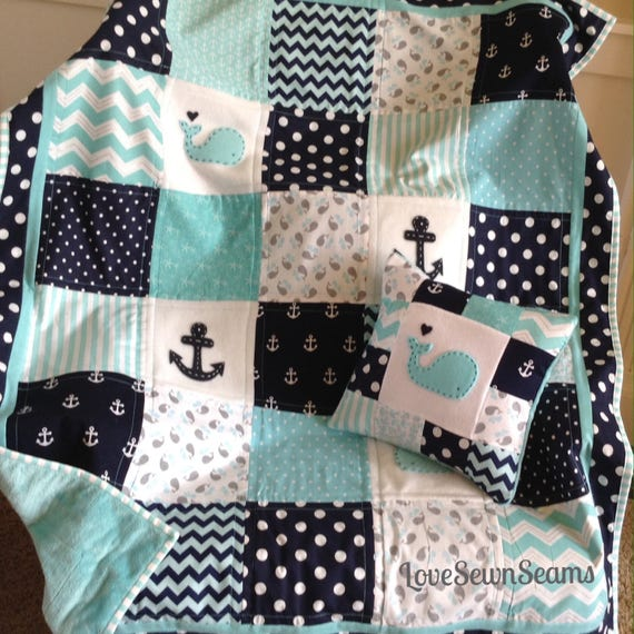 Nautical Coastal Quilt Handmade Baby Quilt Whale And Anchor