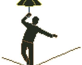 Tightrope Walker Small Cross Stitch Pattern