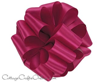 """Satin Ribbon, 1 1/2"""" wide, Berry Pink Double Face - TEN YARD ROLL - Offray """"Azalea #187"""" Reversible Double Sided Satin, Wedding, Sewing Trim"""