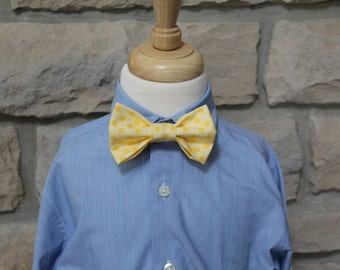 Little Boys Yellow Bow Tie, Infant/Toddler Bow Tie Yellow Polka Dot Boys Bow Tie, Easter Tie, First Communion Tie, Wedding Tie