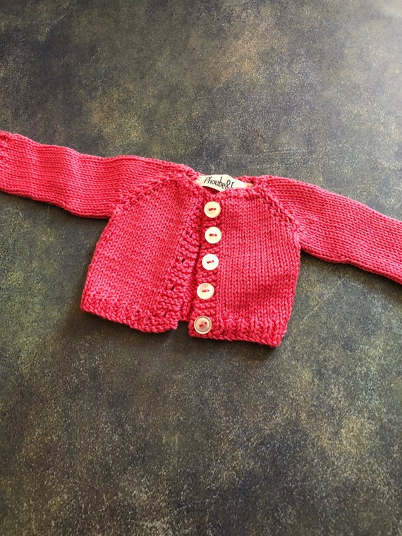 Hand Knit Doll Cardigan for 16 inch Rag Doll